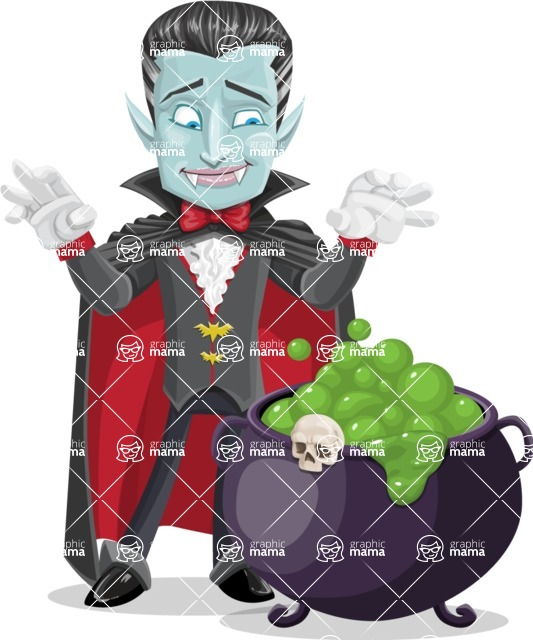 Halloween Vampire Vector Cartoon Character - With Halloween Caldron