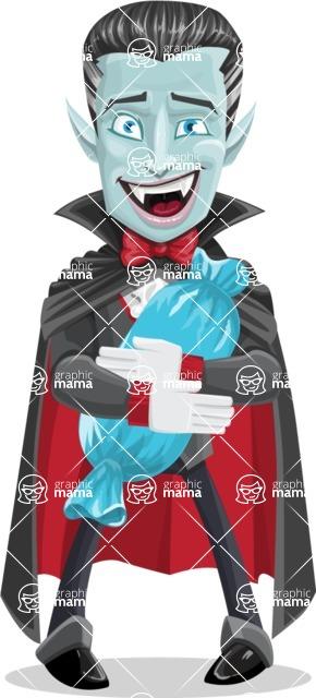Halloween Vampire Vector Cartoon Character - With Halloween Candy