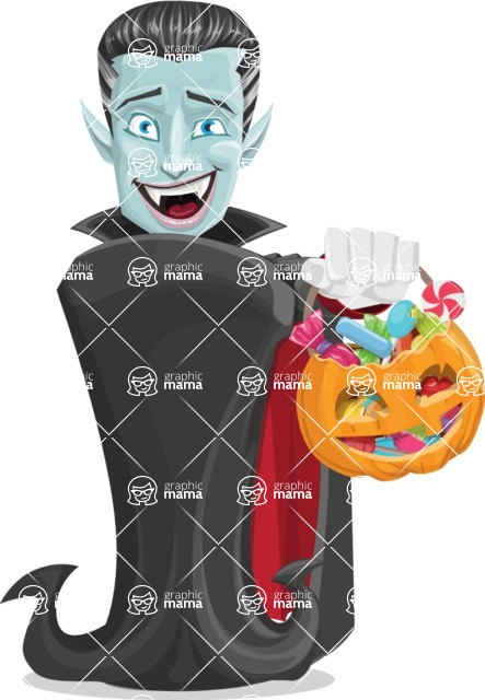 Halloween Vampire Vector Cartoon Character - with Halloween Pumpkin and Candies