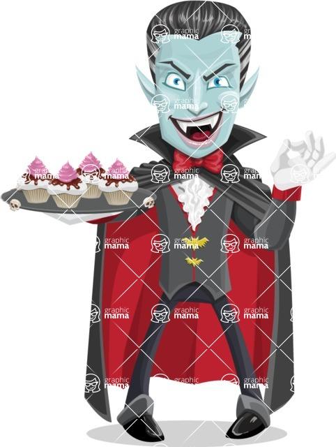 Halloween Vampire Vector Cartoon Character - With Halloween Sweets