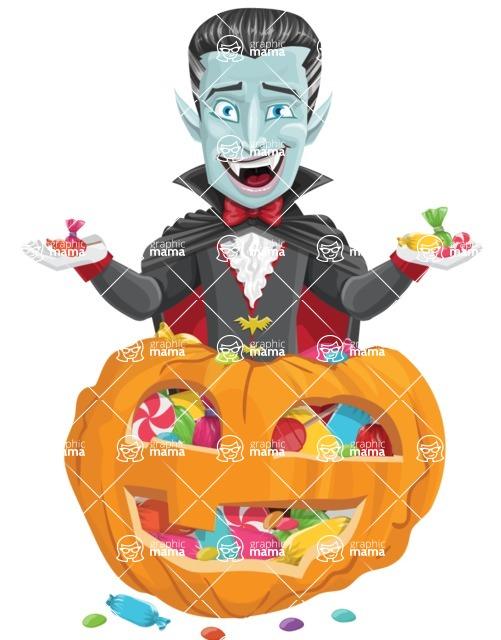 Halloween Vampire Vector Cartoon Character - With Huge Pumpkin full of Treats