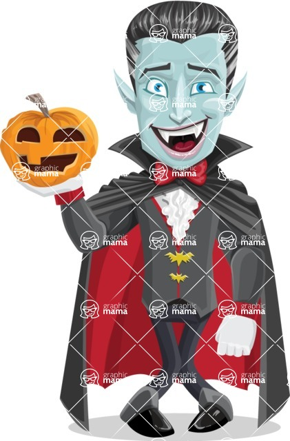 Halloween Vampire Vector Cartoon Character - With Pumpkin