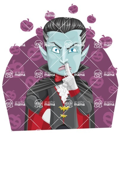 Halloween Vampire Vector Cartoon Character - With Pumpkins Background