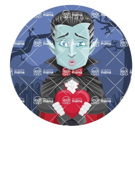 Halloween Vampire Vector Cartoon Character - With Simple Style Halloween Background