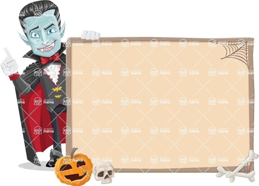 Halloween Vampire Vector Cartoon Character - With Whiteboard on Halloween Theme