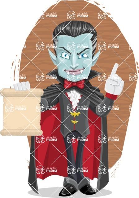 Halloween Vampire Vector Cartoon Character - With Wood Background