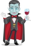 Halloween Vampire Vector Cartoon Character - At Night Drinking Glass of Wine