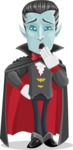 Halloween Vampire Vector Cartoon Character - Being Bored