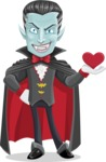 Halloween Vampire Vector Cartoon Character - Being Cute with Love Heart