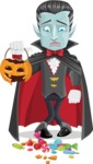 Halloween Vampire Vector Cartoon Character - Being Sad With Broken Pumpkin Lantern