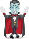 Halloween Vampire Vector Cartoon Character - Being Scared