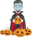 Halloween Vampire Vector Cartoon Character - Celebrating Halloween With Pumpkins