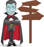 Halloween Vampire Vector Cartoon Character - Choosing a Way To Go