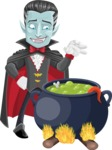 Halloween Vampire Vector Cartoon Character - Cooking in a Caldron