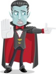 Halloween Vampire Vector Cartoon Character - Finger Pointing with Angry Face