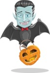 Halloween Vampire Vector Cartoon Character - Flying As a Bat
