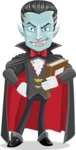 Halloween Vampire Vector Cartoon Character - Holding a Book