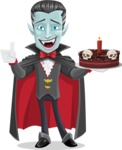 Halloween Vampire Vector Cartoon Character - Holding a Halloween Cake