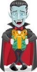 Halloween Vampire Vector Cartoon Character - Holding a Halloween Gift