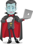 Halloween Vampire Vector Cartoon Character - Holding a Laptop
