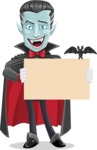 Halloween Vampire Vector Cartoon Character - Holding Blank Presentation Sign for Halloween