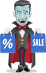 Halloween Vampire Vector Cartoon Character - Holding Shopping Bags