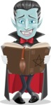 Halloween Vampire Vector Cartoon Character - Making a Curse with a Book