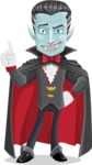Halloween Vampire Vector Cartoon Character - Making a Point