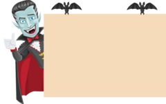 Halloween Vampire Vector Cartoon Character - Making a Presentation on a Whiteboard