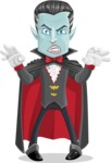 Halloween Vampire Vector Cartoon Character - Making Scary Face