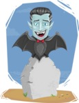 Halloween Vampire Vector Cartoon Character - On a Grave with Background