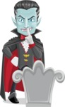 Halloween Vampire Vector Cartoon Character - On a Grave
