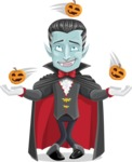 Halloween Vampire Vector Cartoon Character - Playing on Halloween