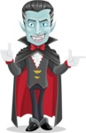Halloween Vampire Vector Cartoon Character - Pointing and Making Thumbs Up