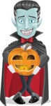 Halloween Vampire Vector Cartoon Character - Holding a Pumpkin Lantern