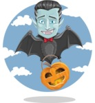 Halloween Vampire Vector Cartoon Character - Flying with Sky Background