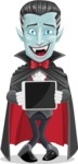Halloween Vampire Vector Cartoon Character - Showing on a Blank Tablet
