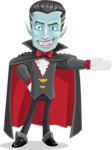 Halloween Vampire Vector Cartoon Character - Showing with a Hand