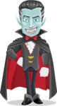 Halloween Vampire Vector Cartoon Character - Smiling