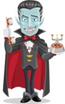 Halloween Vampire Vector Cartoon Character - Talking on Phone