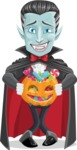 Halloween Vampire Vector Cartoon Character - Trick Or Treating