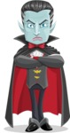Halloween Vampire Vector Cartoon Character - Waiting with Crossed Hands