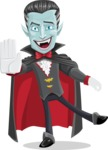 Halloween Vampire Vector Cartoon Character - Waving for Welcome with a Hand