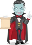 Halloween Vampire Vector Cartoon Character - With a Blank Scroll