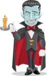 Halloween Vampire Vector Cartoon Character - With a Candle