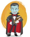 Halloween Vampire Vector Cartoon Character - With a Colorful Background