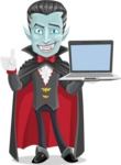 Halloween Vampire Vector Cartoon Character - With a Computer