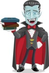 Halloween Vampire Vector Cartoon Character - With Books