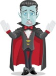 Halloween Vampire Vector Cartoon Character - With Cape