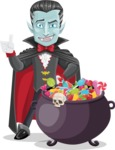 Halloween Vampire Vector Cartoon Character - with Cauldron full of Sweets